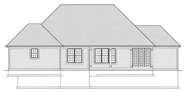 Craftsman House Plan 98600 with 4 Beds, 3 Baths, 2 Car Garage Rear Elevation