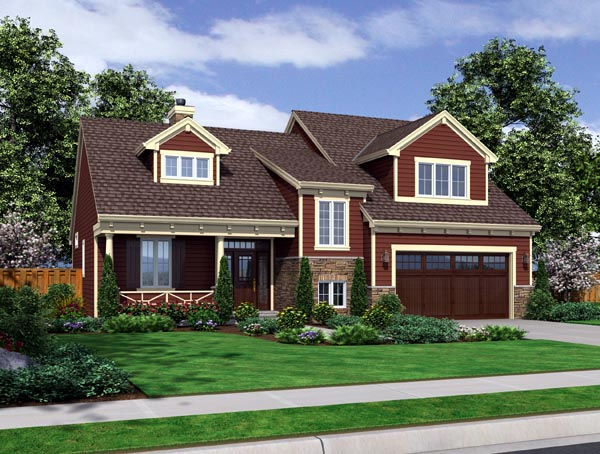 Elevation of Craftsman   House Plan 98633