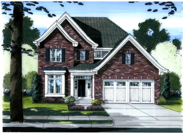 Traditional House Plan 98647 with 4 Beds, 3 Baths, 2 Car Garage Elevation