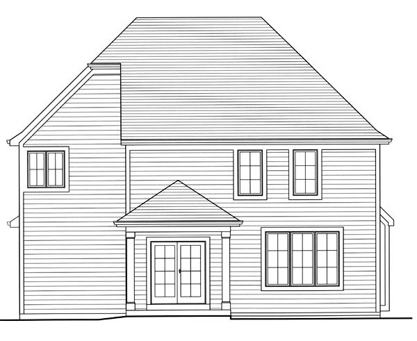 Traditional House Plan 98647 with 4 Beds, 3 Baths, 2 Car Garage Rear Elevation