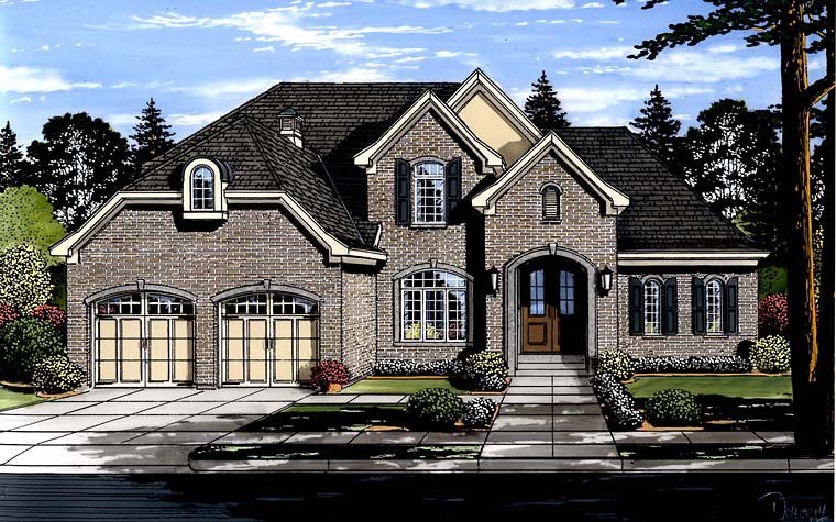 European Traditional Tudor House Plan 98671 Elevation
