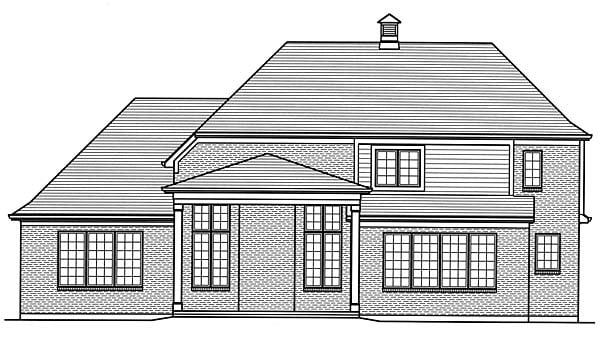 European Traditional Tudor House Plan 98671 Rear Elevation