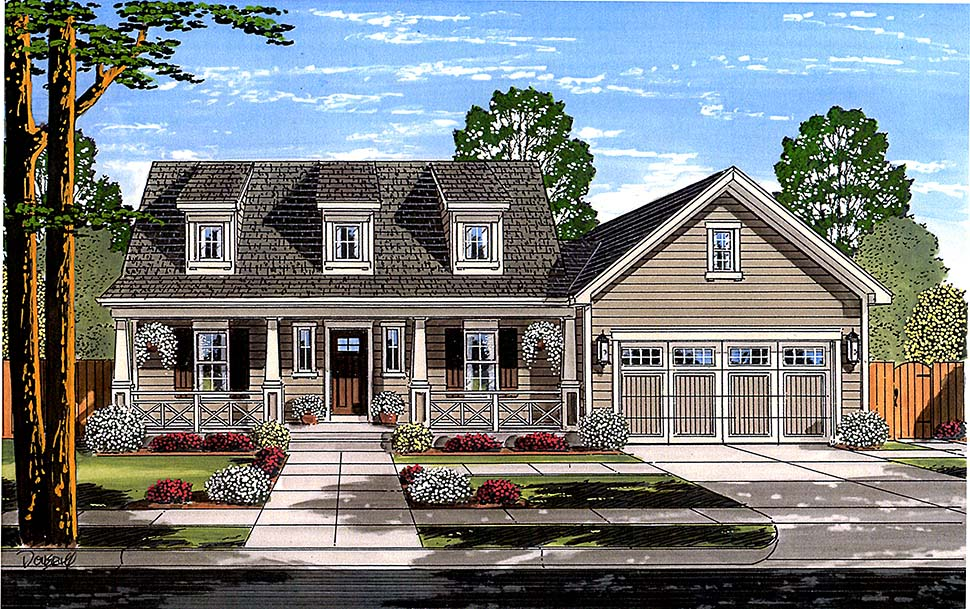 Cape Cod, Country House Plan 98696 with 3 Beds, 3 Baths, 2 Car Garage Elevation