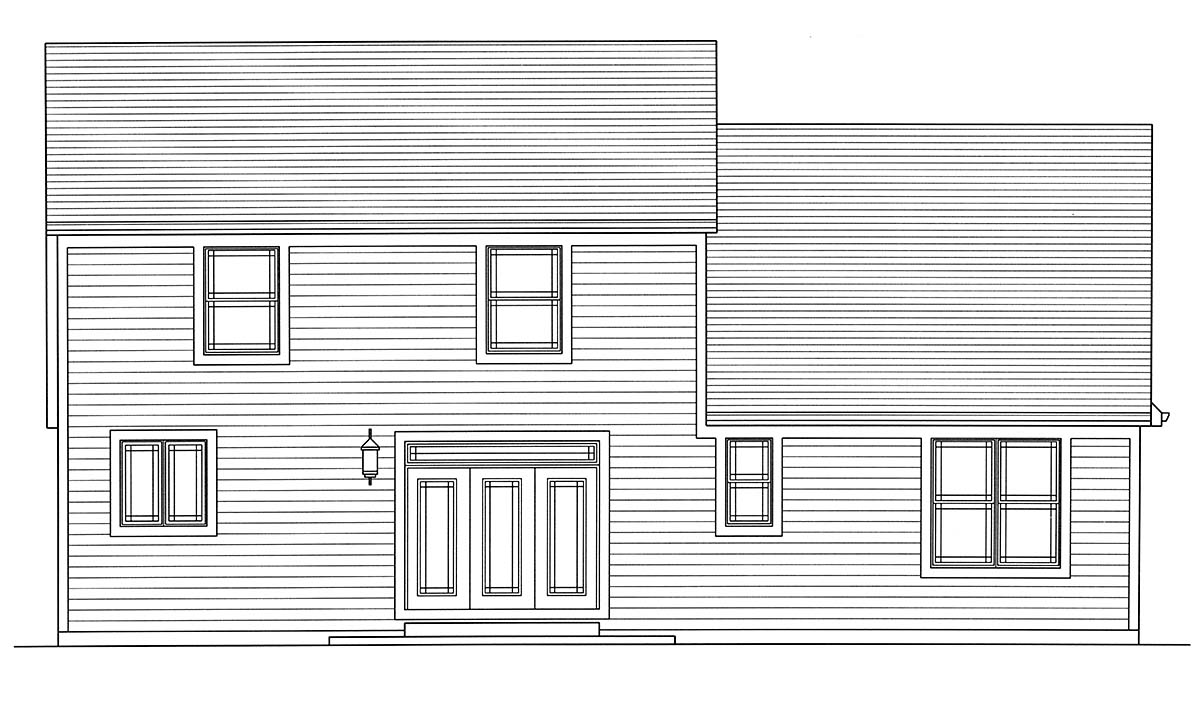 Bungalow, Cape Cod, Cottage House Plan 98698 with 4 Beds, 3 Baths, 2 Car Garage Rear Elevation