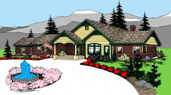 Colonial Ranch House Plan 98760 Elevation