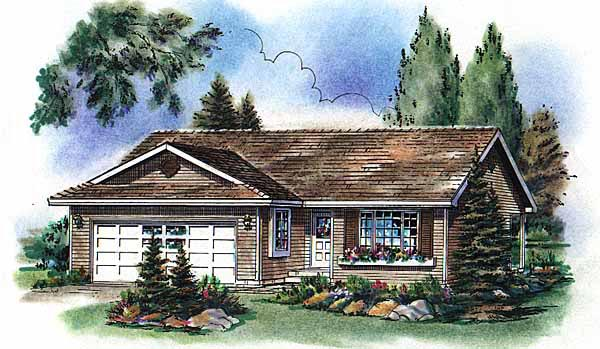 Narrow Lot, One-Story, Ranch House Plan 98841 with 2 Beds, 2 Baths, 2 Car Garage Elevation