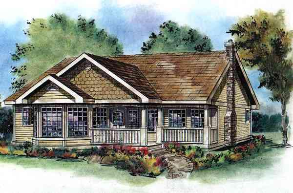 Ranch House Plan 98887 with 3 Beds, 2 Baths Elevation