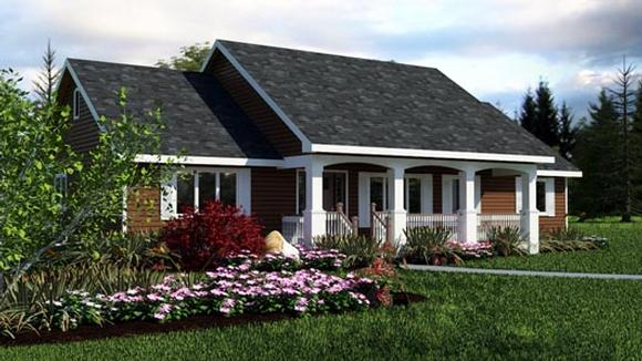 Ranch House Plan 98889 with 3 Beds, 2 Baths Elevation