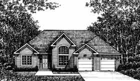 European, One-Story House Plan 99081 with 3 Beds, 2 Baths, 2 Car Garage Elevation