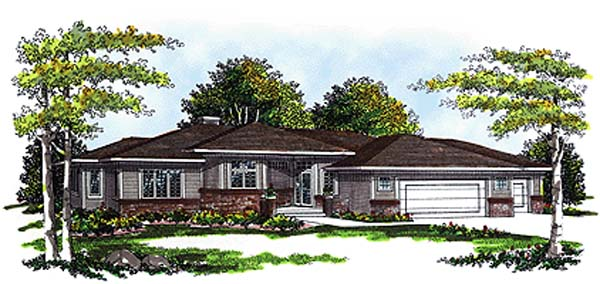 Elevation of Prairie Style   Southwest   House Plan 99111