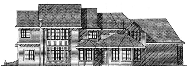 Rear Elevation of European   House Plan 99118