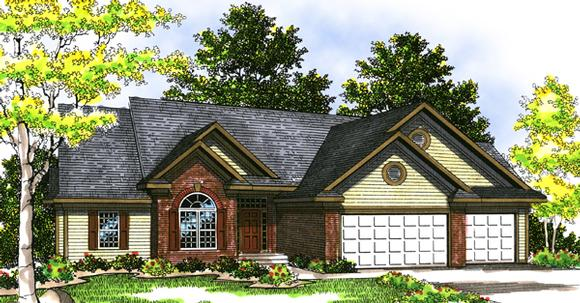 European, One-Story, Ranch House Plan 99154 with 3 Beds, 3 Baths, 3 Car Garage Elevation