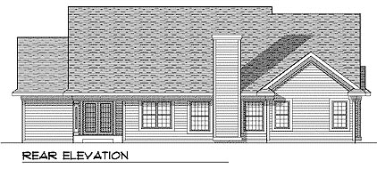 European, One-Story, Ranch House Plan 99154 with 3 Beds, 3 Baths, 3 Car Garage Rear Elevation