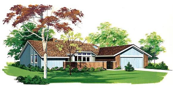 Contemporary, One-Story, Ranch, Retro House Plan 99221 with 3 Beds, 3 Baths, 2 Car Garage Elevation
