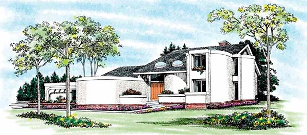 Contemporary Santa Fe House Plan 99230 Elevation