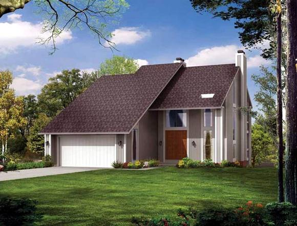 Contemporary House Plan 99243 with 4 Beds, 4 Baths, 2 Car Garage Elevation