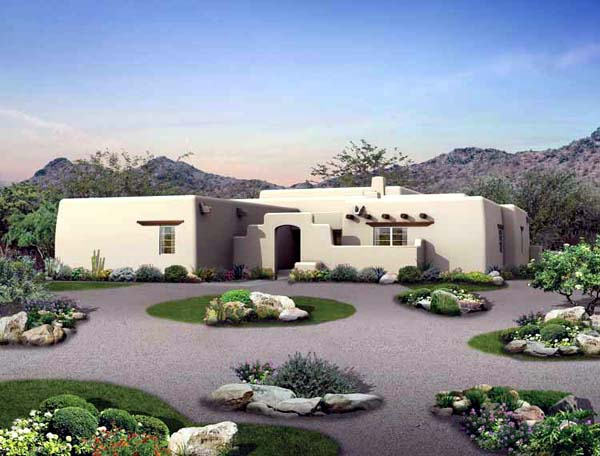 House Plan 99274 Southwest Style With 1907 Sq Ft 3 Bed 2 Bath 1 Half Bath