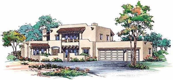 Santa Fe Southwest House Plan 99275 Elevation