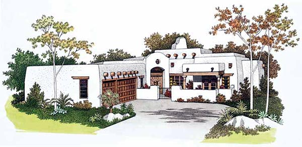 Santa Fe Southwest House Plan 99276 Elevation