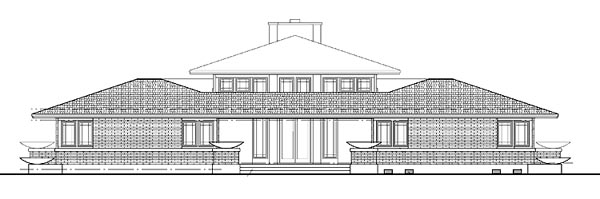 Prairie Style Southwest Rear Elevation of Plan 99288