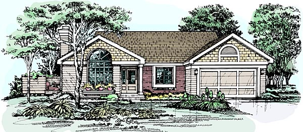 Bungalow, One-Story House Plan 99345 with 3 Beds, 2 Baths, 2 Car Garage Elevation