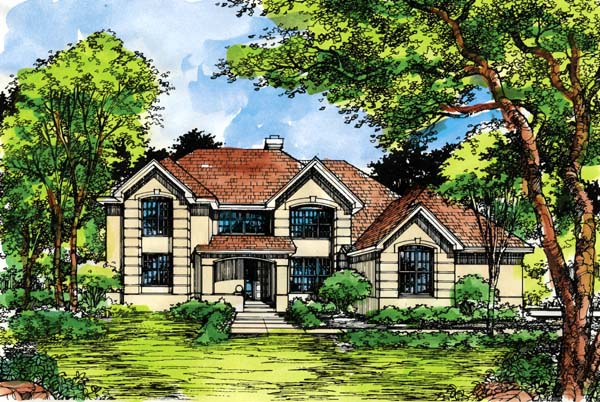 Traditional House Plan 99385 with 4 Beds, 4 Baths, 3 Car Garage Elevation