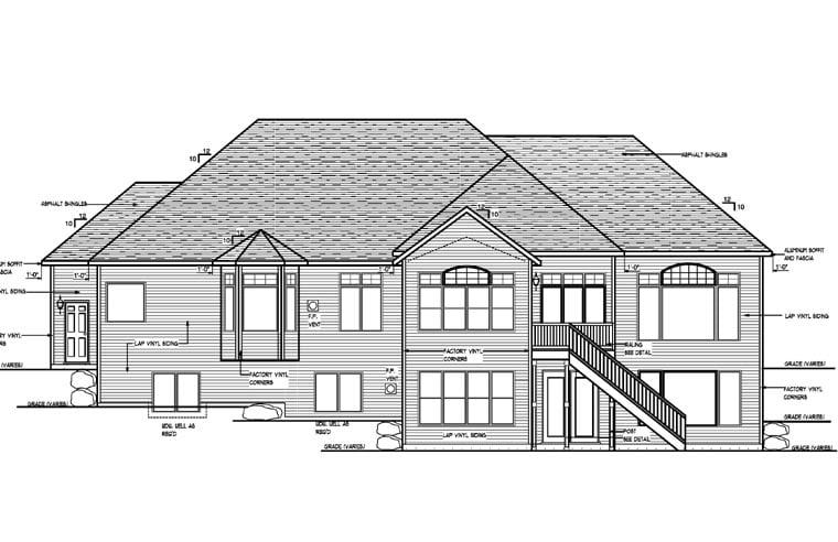 Cottage Craftsman Traditional House Plan 99388 Rear Elevation