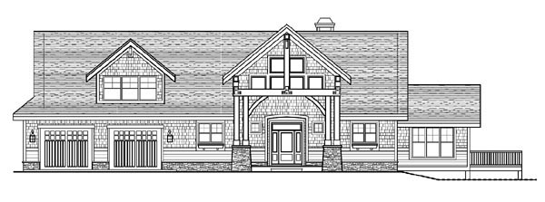 Cottage, Craftsman House Plan 99391 with 2 Beds, 3 Baths, 2 Car Garage Rear Elevation