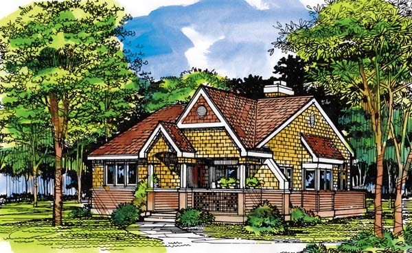 Cottage, Tudor House Plan 99394 with 2 Beds, 2 Baths Elevation