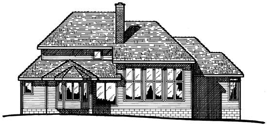 European Tudor House Plan 99449 Rear Elevation