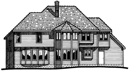 European Tudor House Plan 99463 Rear Elevation