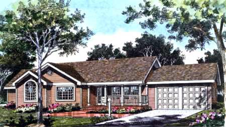 Country, Farmhouse, One-Story, Traditional House Plan 99639 with 3 Beds, 2 Baths, 2 Car Garage Elevation