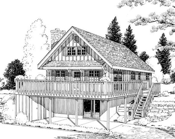 A-Frame, Cabin House Plan 9964 with 4 Beds, 2 Baths, 1 Car Garage Elevation