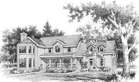 Colonial, Country, Farmhouse, Traditional House Plan 99640 with 4 Beds, 3 Baths, 2 Car Garage Elevation