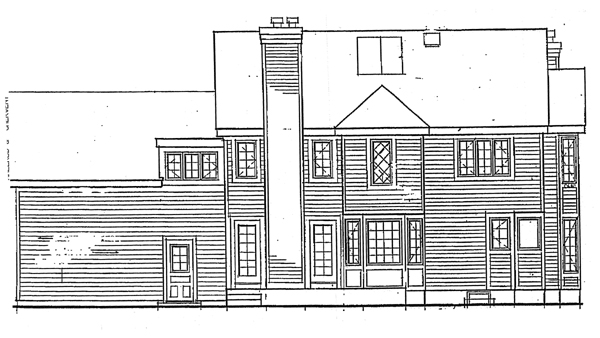 Colonial, Country, Farmhouse, Traditional House Plan 99640 with 4 Beds, 3 Baths, 2 Car Garage Rear Elevation