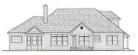 Cape Cod, European House Plan 99678 with 3 Beds, 3 Baths, 2 Car Garage Rear Elevation