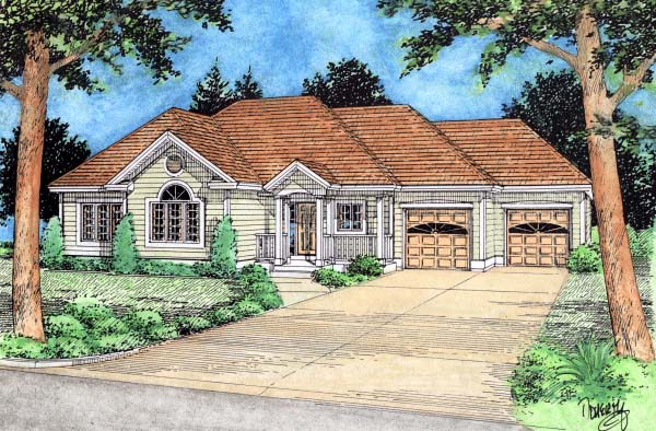 European House Plan 99928 with 3 Beds, 2 Baths, 2 Car Garage Elevation