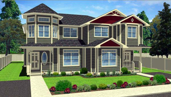 Victorian Multi-Family Plan 99938 Elevation