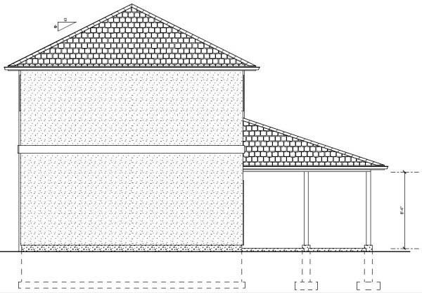 3 Car Garage Apartment Plan 99942 with 1 Beds, 1 Baths Rear Elevation