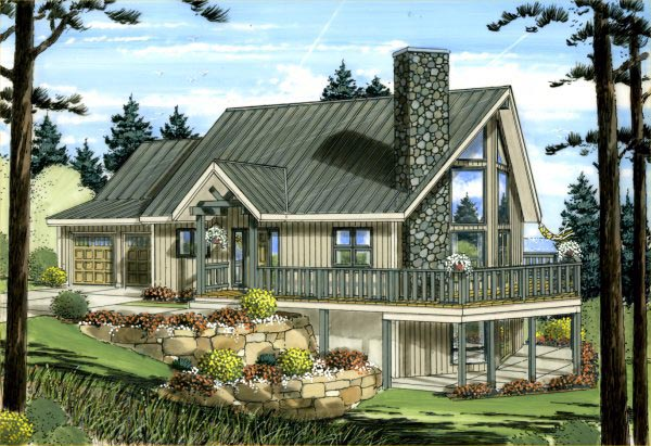 a frame house plan 99943 elevation - A Frame House Plans