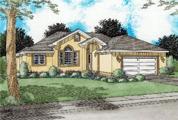 Florida House Plan 99945 with 3 Beds, 2 Baths, 2 Car Garage Elevation