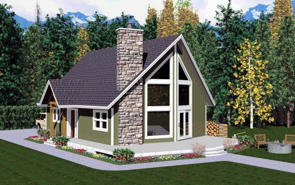 House plan 99946 at for A frame house plans with attached garage