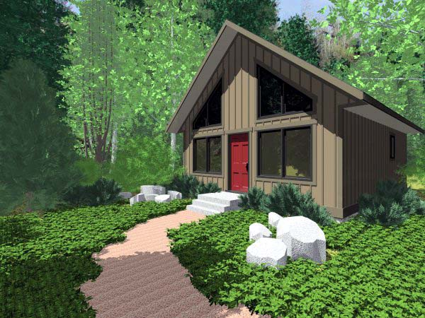 Elevation of Cabin   Contemporary   House Plan 99953