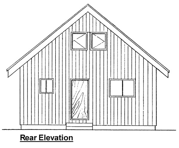 Rear Elevation of Cabin   Contemporary   House Plan 99953