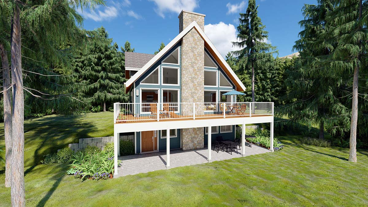 a frame house plan 99961 elevation - A Frame House Plans