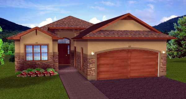 House Plan 99970 with 4 Beds, 3 Baths, 2 Car Garage Elevation