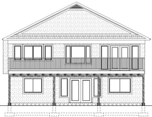 House Plan 99970 with 4 Beds, 3 Baths, 2 Car Garage Rear Elevation