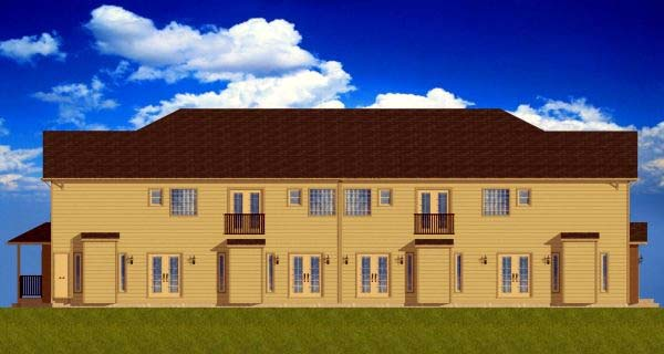 Multi-Family Plan 99973 with 12 Beds, 12 Baths, 8 Car Garage Rear Elevation