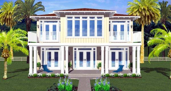house plan 99987 rear elevation - West Indies House Plans