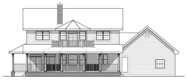 Colonial House Plan 99998 Rear Elevation